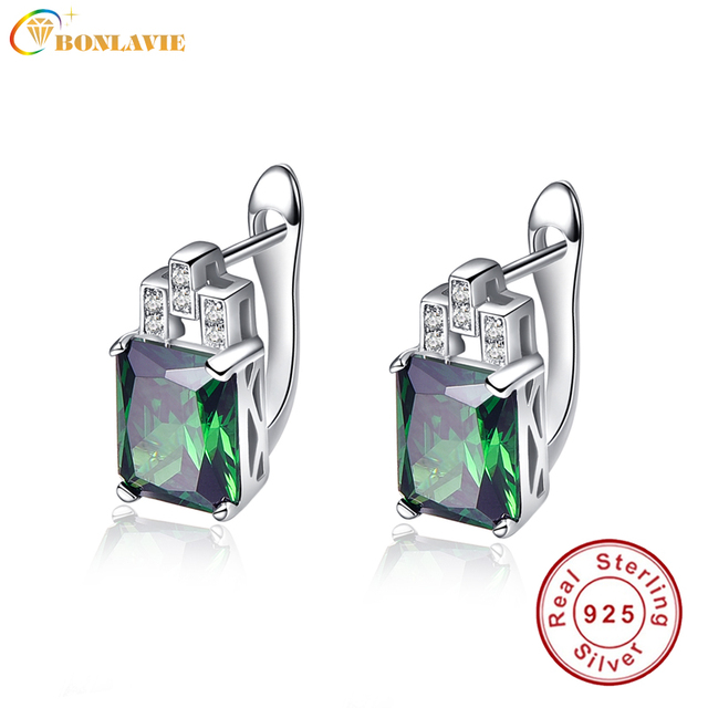 Bonlavie 1 Pair Russian Emerald Earrings Clip 925 Sterling Silver Ear Studs Green Gem Stone