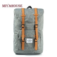 Miyahouse Vintage Women Travel School Backpack Large Capacity Canvas Backpacks For Teenager Drawstring Design Laptop Backpacks