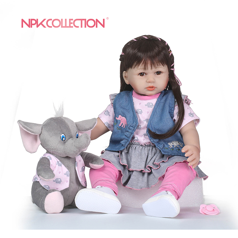 NPKCOLLECTION 58cm Silicone Reborn Baby Doll Kids Playmate Gift For Girls Baby Doll Alive Soft Toys For Bebes Reborn BrinquedoNPKCOLLECTION 58cm Silicone Reborn Baby Doll Kids Playmate Gift For Girls Baby Doll Alive Soft Toys For Bebes Reborn Brinquedo