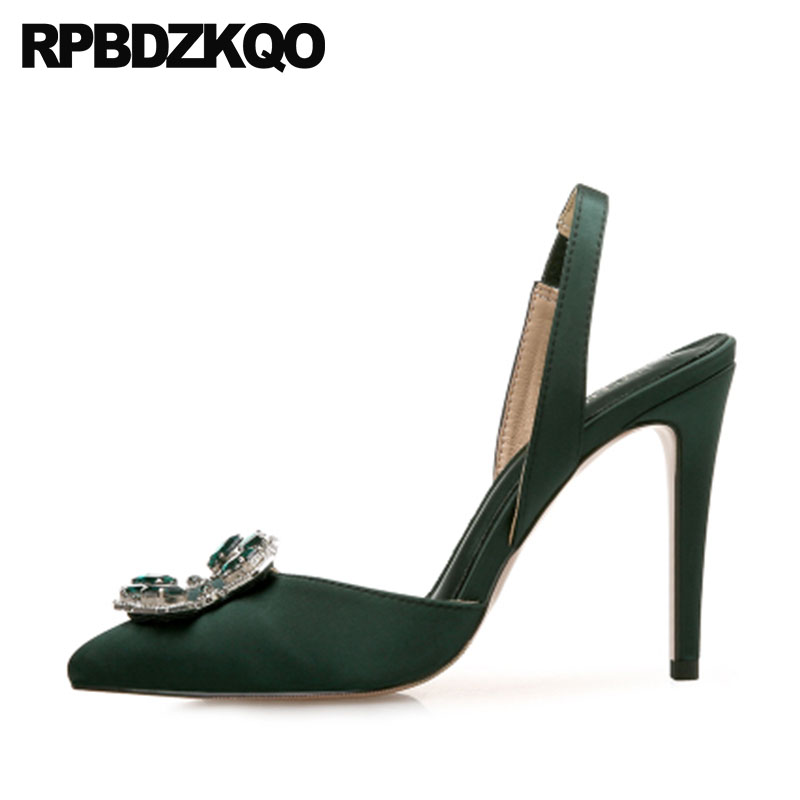 16b4add1dc1 Crossdresser High Heels Big Size Pointed Toe 12 44 Women Satin Slingback  Thin Green 11 43 Pumps Crystal Silver Shoes Rhinestone