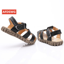 Leather sandals boys 2019 100% soft leather in summer the new boys and girls children beach shoes  kids sport sandals princess s