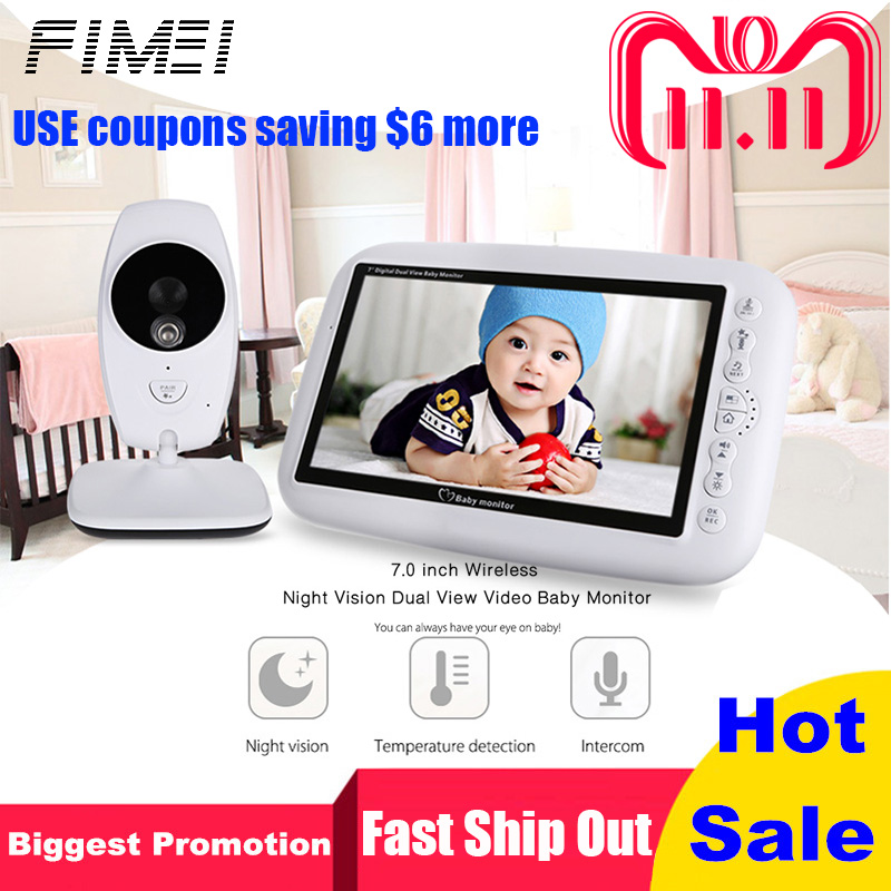 FIMEI 2.4GHz Wireless Baby Monitor TFT LCD Dual View Video Baby Slepping Monitor Baby Camera with Infrared Night Vision