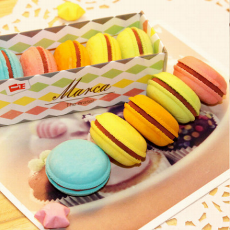 200PC/Lot Cute Macaron Rubber Eraser Creative Kawaii Stationery School Supplies Papelaria Gift For Kids