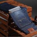 Homens calças de brim leve, plus size ocasional reta-cintura alta cor sólida calças, calças de brim dos homens de algodão, calças de brim dos homens da marca para os homens