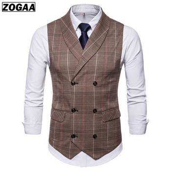 NEW High-quality British Style  Business Vest with Striped Double-breasted and Breathable Fabric for Men Tops Spring 2019