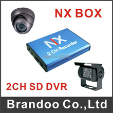 2 channel Mini Car DVR With Motion Detection 128GB SD Card external cameras For Car Bus Office BD-302 Free Shipping