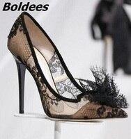 Новое поступление шикарный черный Кружево сетки высокий тонкий каблук стильный Для женщин кружевное платье с цветочным рисунком заостренн...