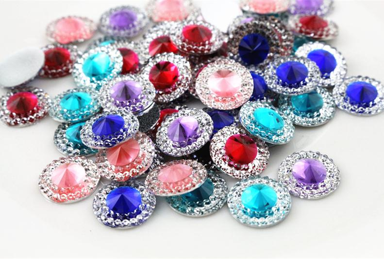 New Fashion 40pcs 12mm Mixed Color Flat Back Resin Cabochons Cameo  G6-05