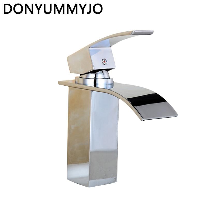 Vente de haute qualité cascade salle de bains robinet pont monté Chrome en laiton vanité évier mélangeur