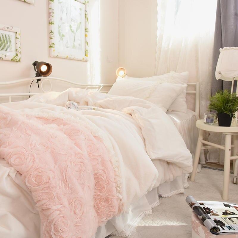 US $86.03 42% OFF|Pink White Girls Princess Fleece Bedding Set Twin Queen  King size Bed set Duvet cover Bed skirt Bed cover posciel linge de lit-in  ...