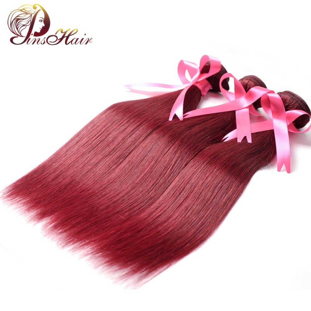 Pinshair Wine Red Burgundy 3 Bundles Brazilian Straight Hair Weave Bundles 99J 100% Human Hair Extensions Non Remy No Tangle ...