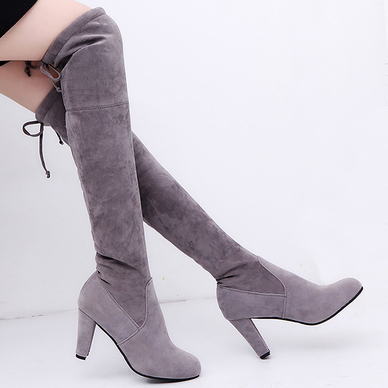 Knee-high boots women Sexy high heels plush warm boots solid flock platform shoes woman suede boots fashion big size 34-43 купить