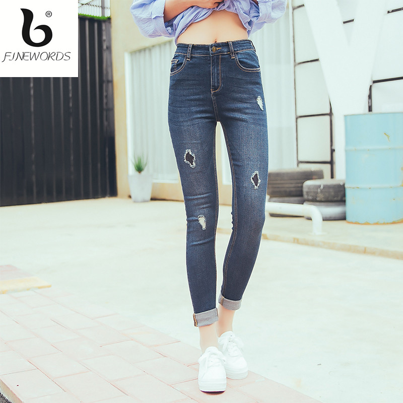 FINEWORDS Ripped Hole Patch Elasticity Skinny Jeans Woman Push Up Denim Pant Legging 2 Color Plus