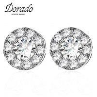 Dorado Romantic Classic Simple Round Cubic Zirconia Crystal Stud Earrings For Women Men Unisex Brincos