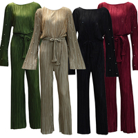 UAE Abaya For Women Overalls 2018 Plus Size Long Maxi Pleated Pearl Wide Leg Jumpsuit Muslim Long Sleeve Bodysuit Vetement Femme