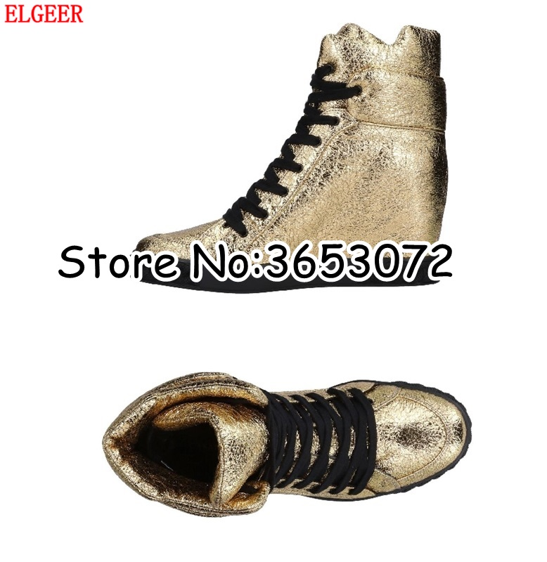 b7d728158c03 Court Lace Th Wedge As Chaussures Bottes Or High as Casual Up Cuir Caché  D'origine Cheville The Picture Argent Top Femmes Lady Sneakers ...