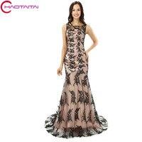 Đen Ren Mermaid Phụ Nữ Áo Chính Thức Trang Bị Tầng Length Elegant Evening Prom Dresses