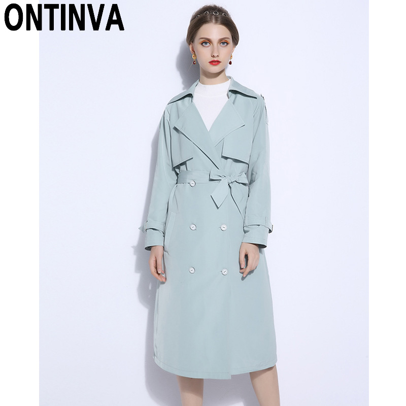 f2f48a0e884 2018 Fall Winter Fashion Long Trench Coat Plus Size 5XL Double Breasted  Long Sleeve with Waist Belt Pocket Duster Coats Outwear