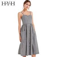 HYH HAOYIHUI Brand Women Plaid Casual Dresses Preppy Style Buttons Double Pockets Female Vintage Vestidos Sleeveless