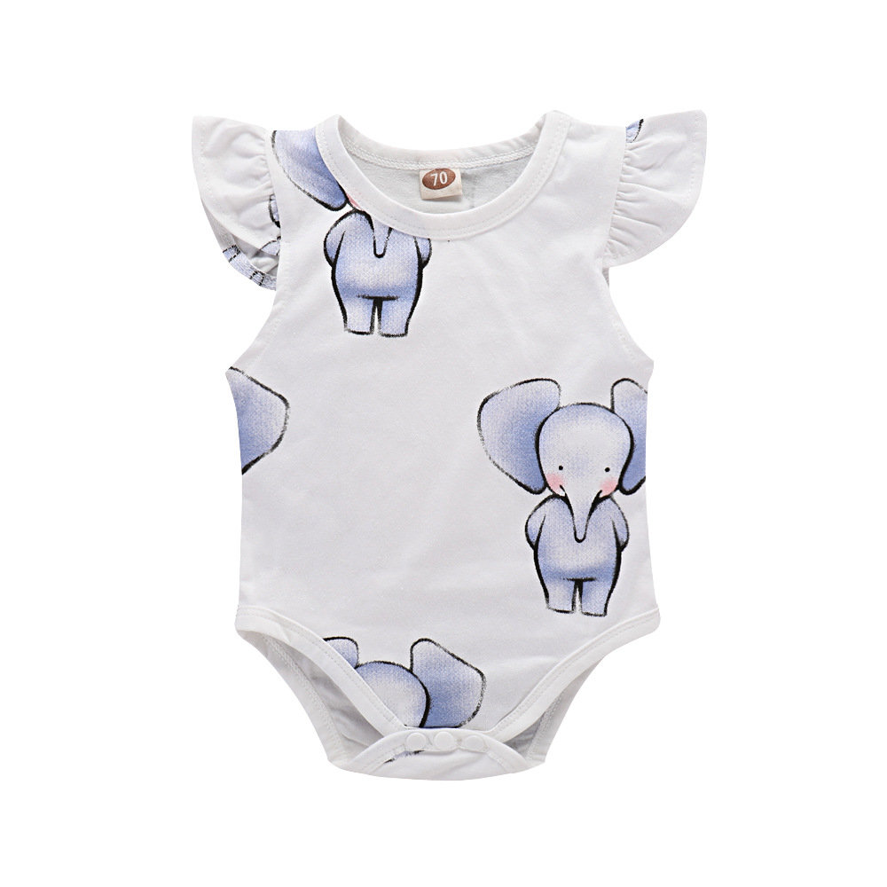 2018 Lovely Flutter Sleeve Bodysuit Unisex Baby Clothes Twin Cartoon Elephant Newborn Onesie Tiny Cottons Infant Clothes Summer