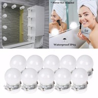 IKVVT Vanity LED 10 Bulb Mirror Light Kit For Makeup Hollywood Mirror With Light Stage