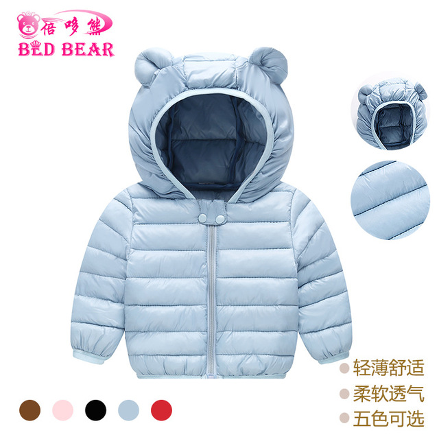 6068e71b3 2018 Autumn Winter New Small Ear Baby Boy Girls Hooded Children's Candy  Solid Color Light Thin Children's Down Kid Cotton Jacket