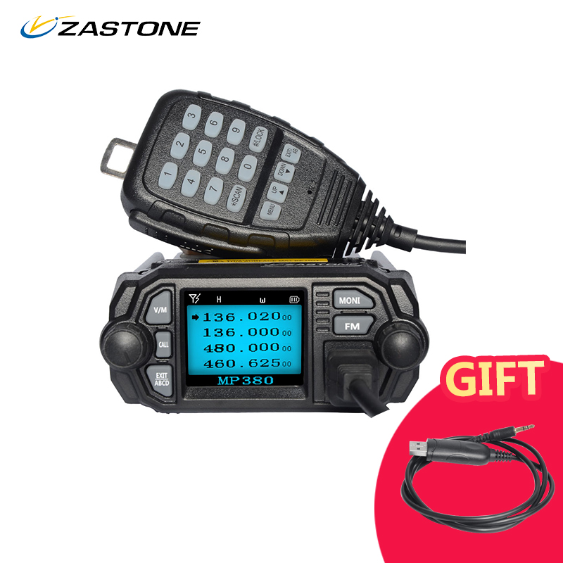 Zastone Mobile Radio Talkie Walkie MP380 VHF 136-174 mhz UHF 400-480 mhz 25 w/20 w Double Bande Mini Voiture Radio Station Radio Bidirectionnelle