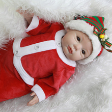 Brown Eyes 22 Inch Lifelike Reborn Babies Princess Silicone Girl Baby Dolls Lifelike Toy With Red Clothes Kids Christmas Gift