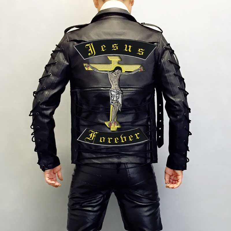 JESUS FOREVER Embroidered punk biker Patches Clothes Stickers Apparel Accessories Badge in Patches from Home Garden