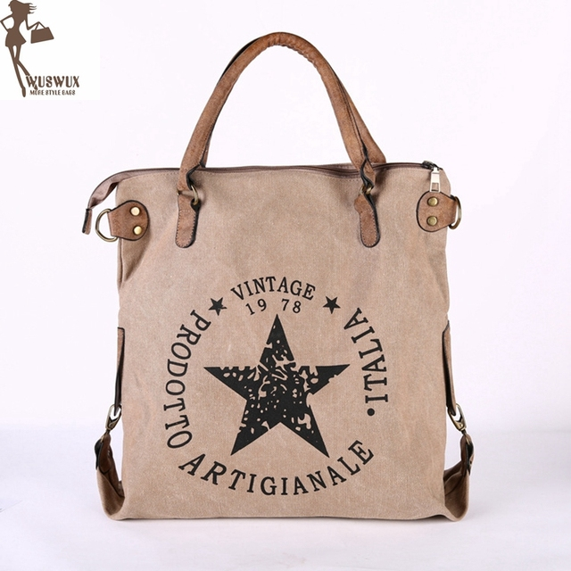 8b073fef1fe3b new fashion canvas women shoulder bag Large capacity casual handbags for  ladies Pentagram printing vintage style women bag