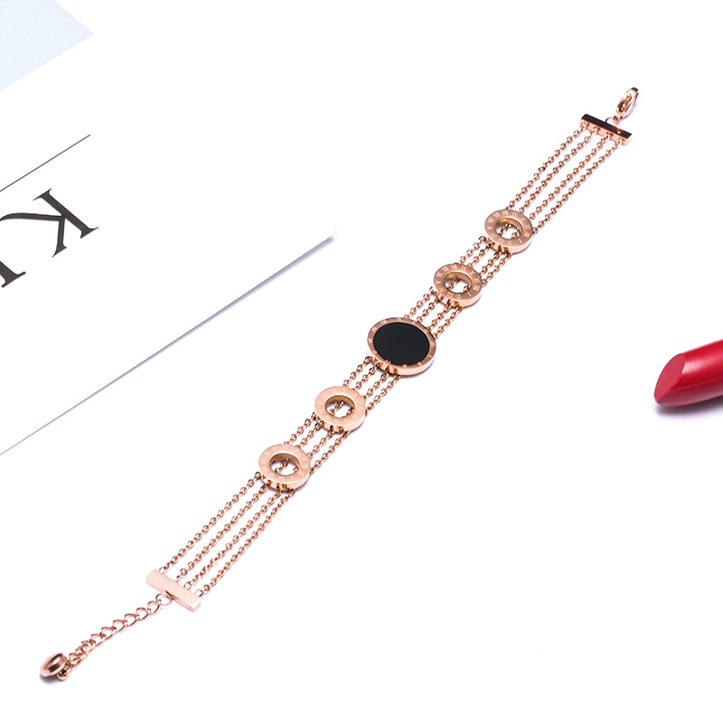 Rose Gold Color Multilayer Bracelets & Bangles For Women, New Black Round Roman Numerals Bracelet Femme Stainless Steel Jewelry