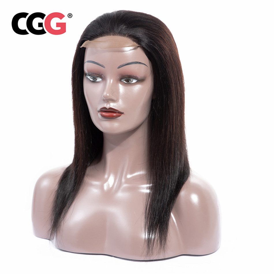 CGG Straight Lace Closure Human Hair Wigs 4 4 Lace Non Remy Human Mongolian Hair For