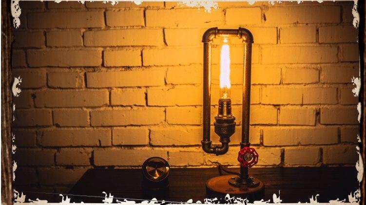 Дерево водопровод промышленных Винтаж настольные лампы Свет для Спальня Лофт Стиль Luminaria Abajur пункт кварто Lamparas De Mesa
