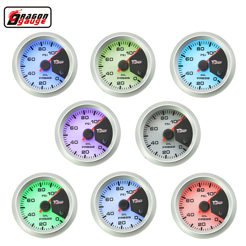 Dragon gauge 52MM 7 Color blacklight Auto Car Oil Pressure gauge Meter Gauge with Sensor for 0~100 PSI Free shipping 2014 new 1pcs auto car oil pressure led gauge 2 52mm free shipping a