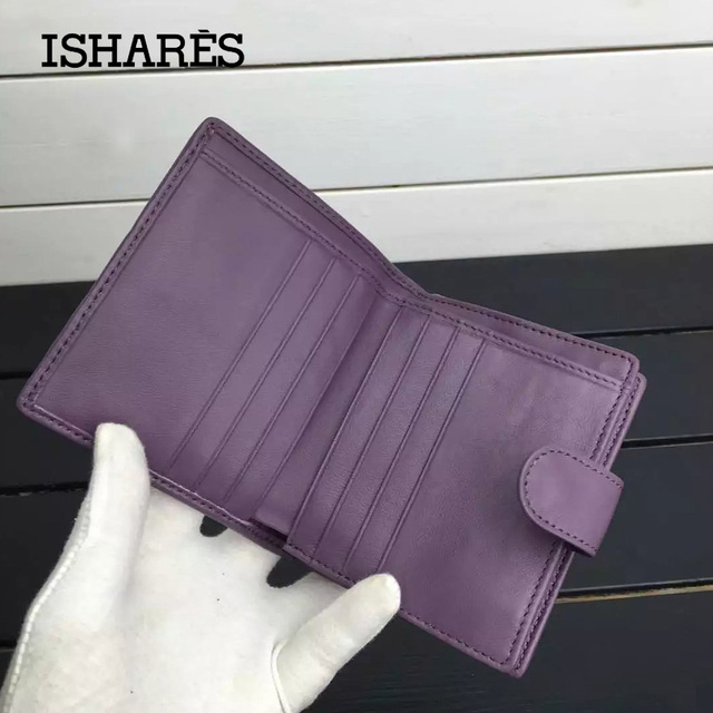 ISHARES High quality sheep leather handmade weave short wallets lady coin card purse fashion lambskin female mini wallets IS1306