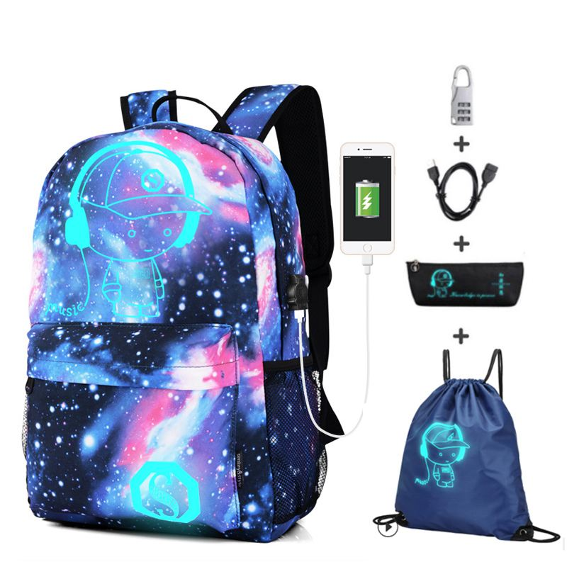 Anime Luminous Student School Bag School Backpack For Boy Girl Daypack Multifunction USB Charging Port And Lock School Bag Blue