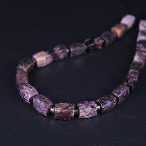 Image 1 - 21 pcs/גדיל, טבעי Charoite פיאות קוביית נאגט Loose חרוזים, לחתוך מחוספס סגול אבן DIY תליון שרשרת צמיד ביצוע