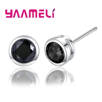 Big Sale 925 Sterling Silver 6MM Stud Earrings For Women Cubic Zirconia Jewelry Gifts For  Baby/Girls/Students 1