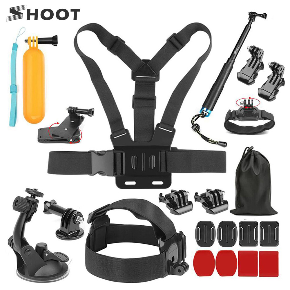 SHOOT Universal Accessories For GoPro Hero 8 7 5 4 Sjcam Xiaomi Yi 4K Eken H9 Tripod Holder Monopod Strap Mount Go Pro Accessory