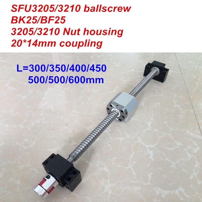 SFU3205 / SFU3210 300 350 400 450 500 550 600mm ballscrew + BK25/BF25 + Nut housing + 20*14mm Coupler CNC partsSFU3205 / SFU3210 300 350 400 450 500 550 600mm ballscrew + BK25/BF25 + Nut housing + 20*14mm Coupler CNC parts