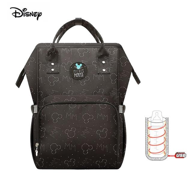 Disney Mommy Bag USB Bottle Oxford Stroller Bag Multifunction Backpack Waterproof Pregnant Mother Diaper Bag Mickey Mouse