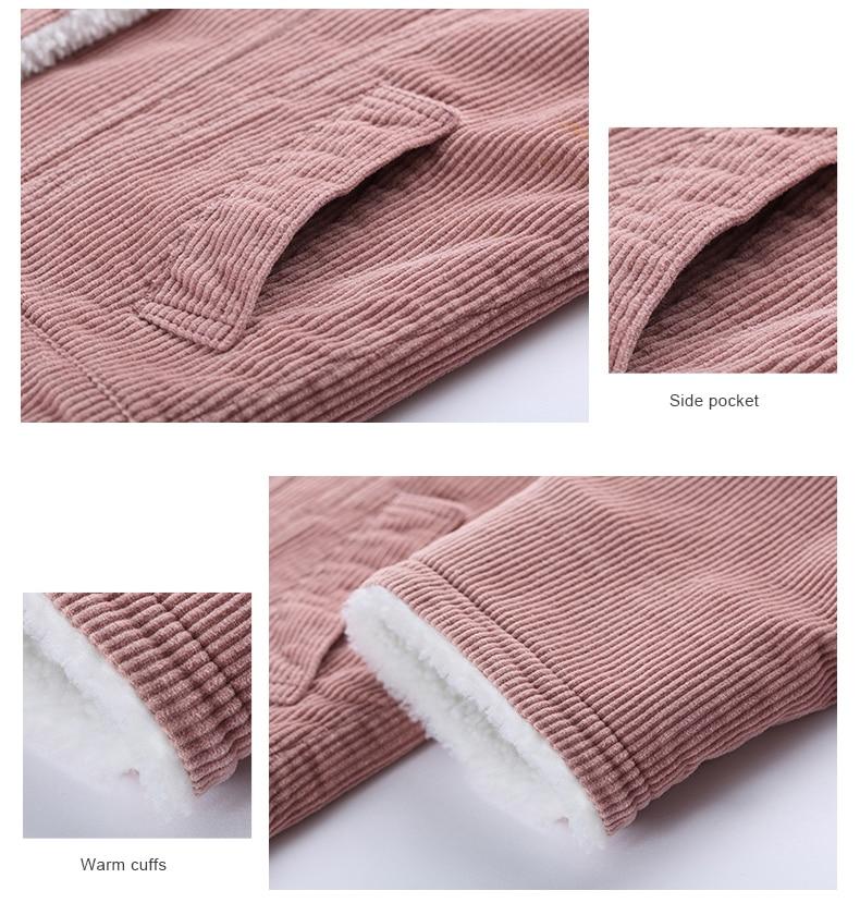 Toyouth Autumn Winter Corduroy Basic Jacket Lambswool Bomber Jacket Women Long Sleeve Jacket Casual Single Breasted Denim Jacket 19