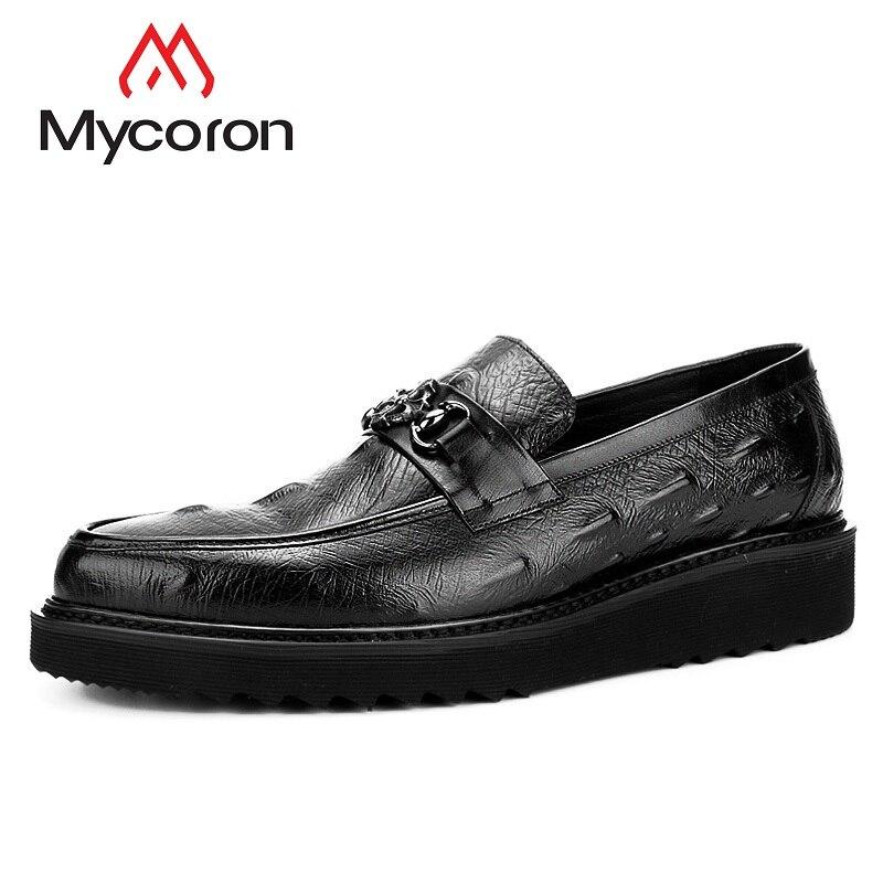 09aa4af3c1aa Mycoron роскошный модный бренд 100% натуральная кожа Мужская Повседневная  дышащая обувь Удобная обувь на платформе