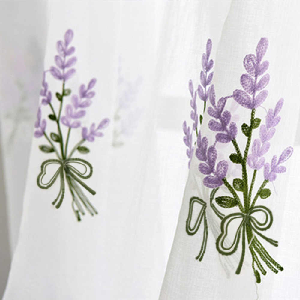 Rustic Embroidered Purple Lavender Flower White Curtain Tulle for Bedroom Floral Sheer Voile Draperies for Living Room wp2582