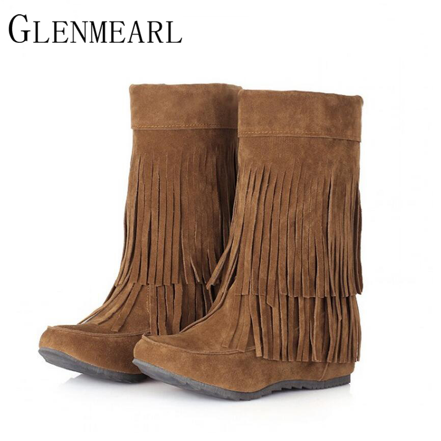 2017 Fall Winter Height Increasing Women Boots Brown Black Gray Frosted Flat Women Shoes Fringed Mid-calf Boots Plus Size 43 ZK1 mid calf women boots black white brown big size 34 43 new winter mid calf women boots black white brown for choice flats shoes