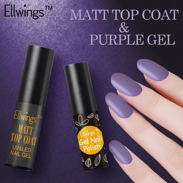 Ellwings 2pcs Matte Top Coat Transparent Gel Varnish Purple Black ...