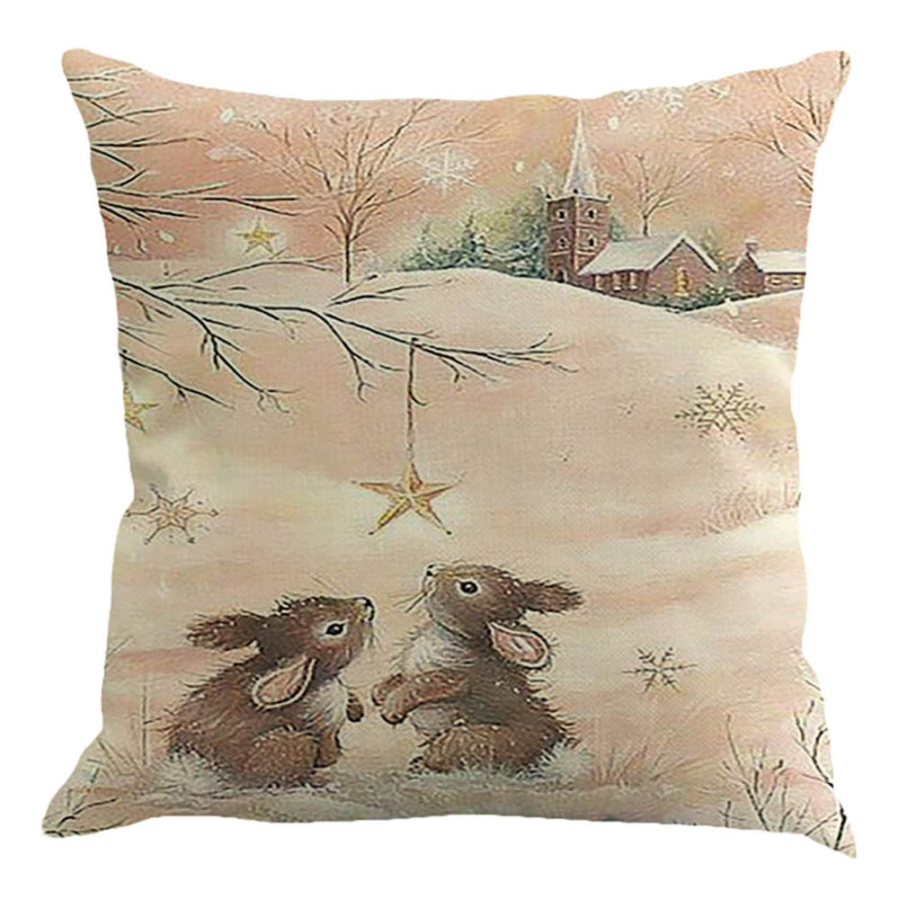 Pillow Case Sofa Bed Home Decoration Cushion Cover Bunny Rabbit Squirrel Printed