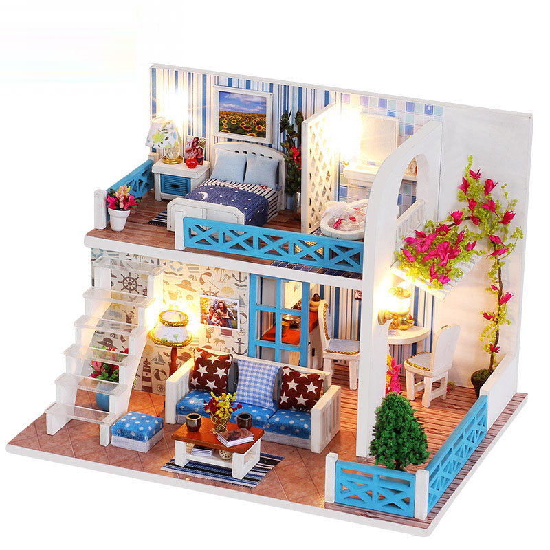 New Type Diy Assemble Doll House Toy Wooden Miniatura Doll Houses Handmade Doll House Toys With Furniture Led Lights Kids Gift
