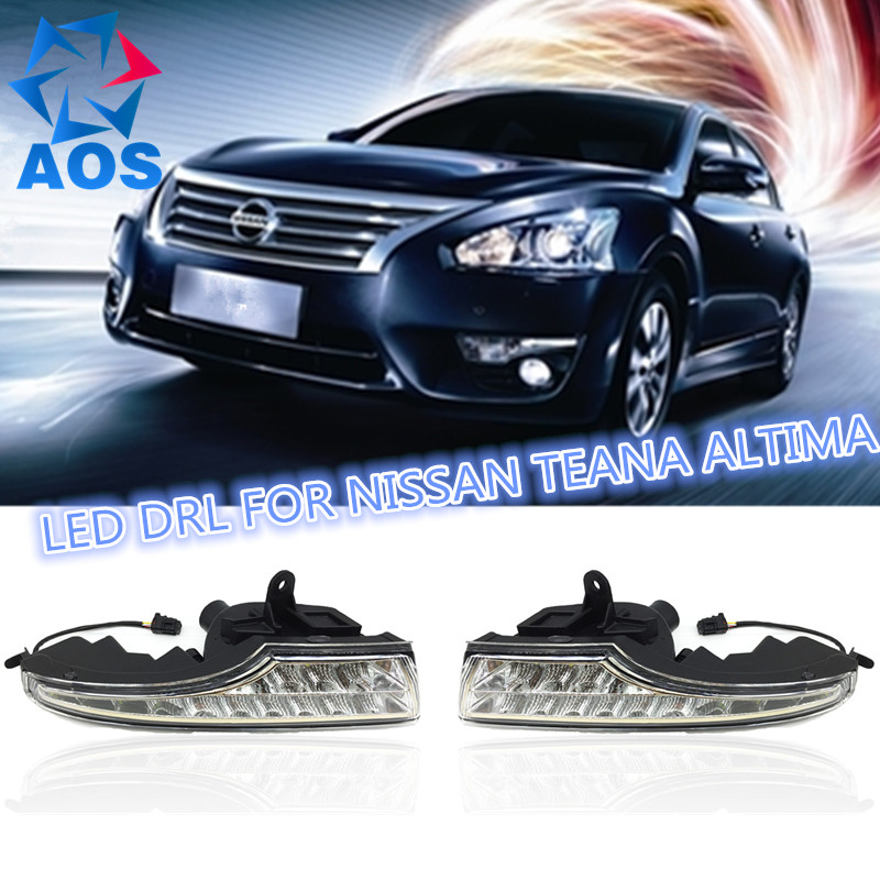 Auto LED DRL Daytime Running Lights kit for Nissan Teana Altima 2013 2014 2015 stainless steel front bottom center grille grill mesh cover trims for nissan altima teana 2013 2014