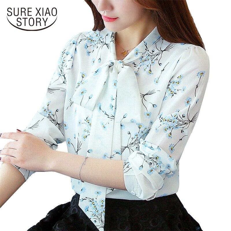NEW 2018 Fashion Women Tops Long Sleeves Plus Size Women Blouse Shirt Casual Chiffon OL Blouse Printed Women Tops Blusas D185 30